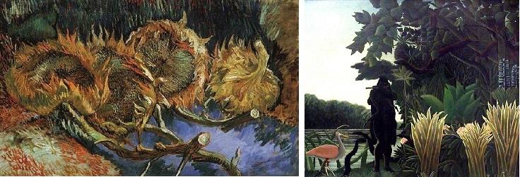 Tournesols de Van Gogh et La Charmeuse de Serpents du douanier Rousseau
