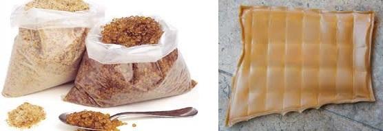 Colle de peau en poudre, en grain et en plaque