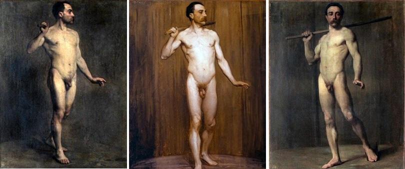 Epreuve du nu au prix de Rome 1875. Par Bellanger, Buland et Dantan.