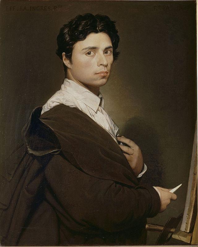 Ingres- autoportrait à l'âge de 24 ans - Peint en1804 et retouché de nombreuses fois jusqu'en 1851